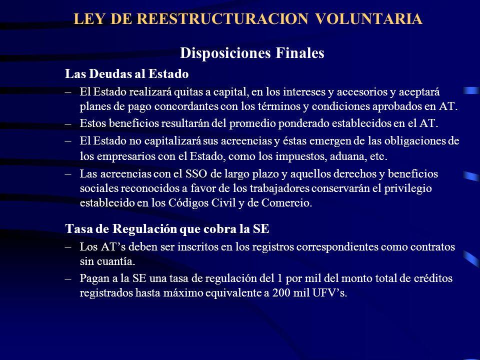 LEY DE REESTRUCTURACION VOLUNTARIA