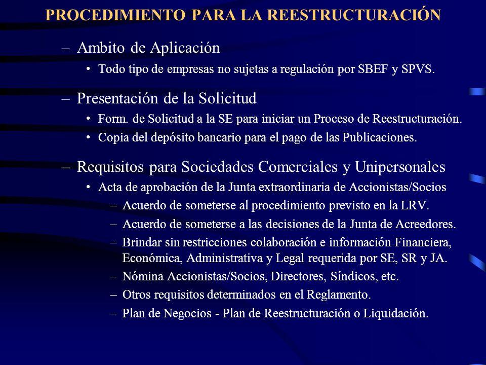PROCEDIMIENTO PARA LA REESTRUCTURACIÓN