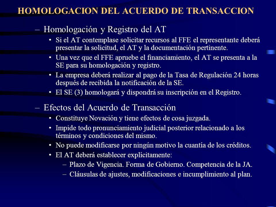 HOMOLOGACION DEL ACUERDO DE TRANSACCION