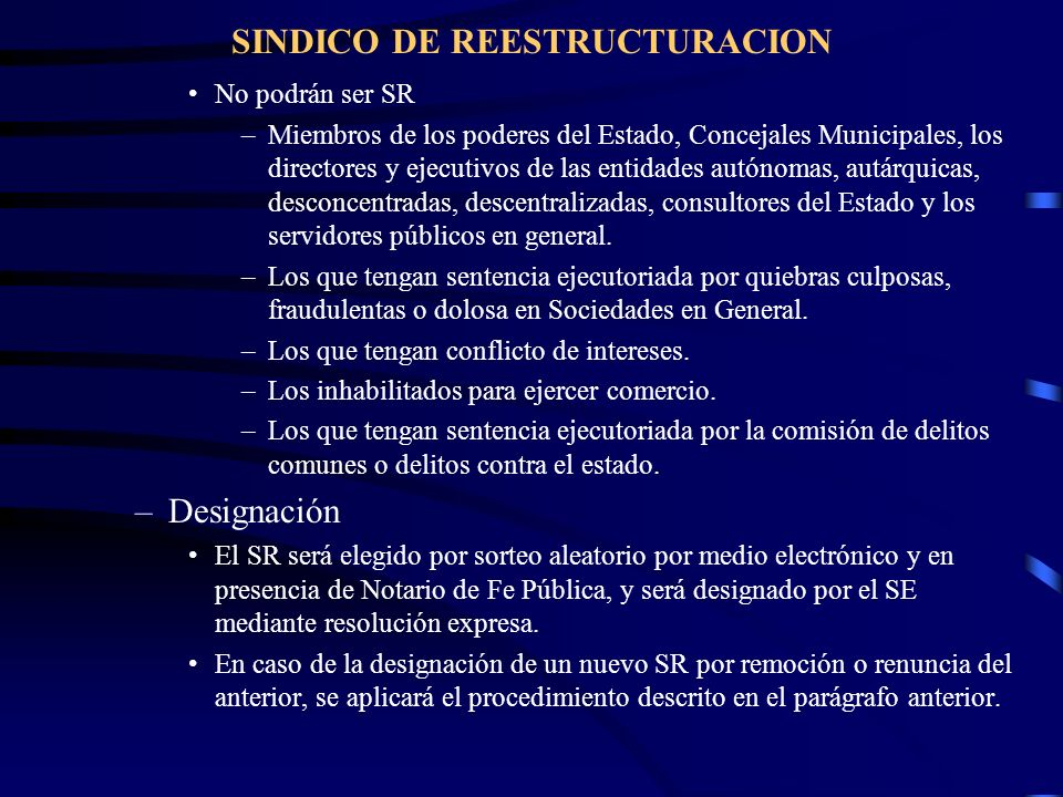 SINDICO DE REESTRUCTURACION