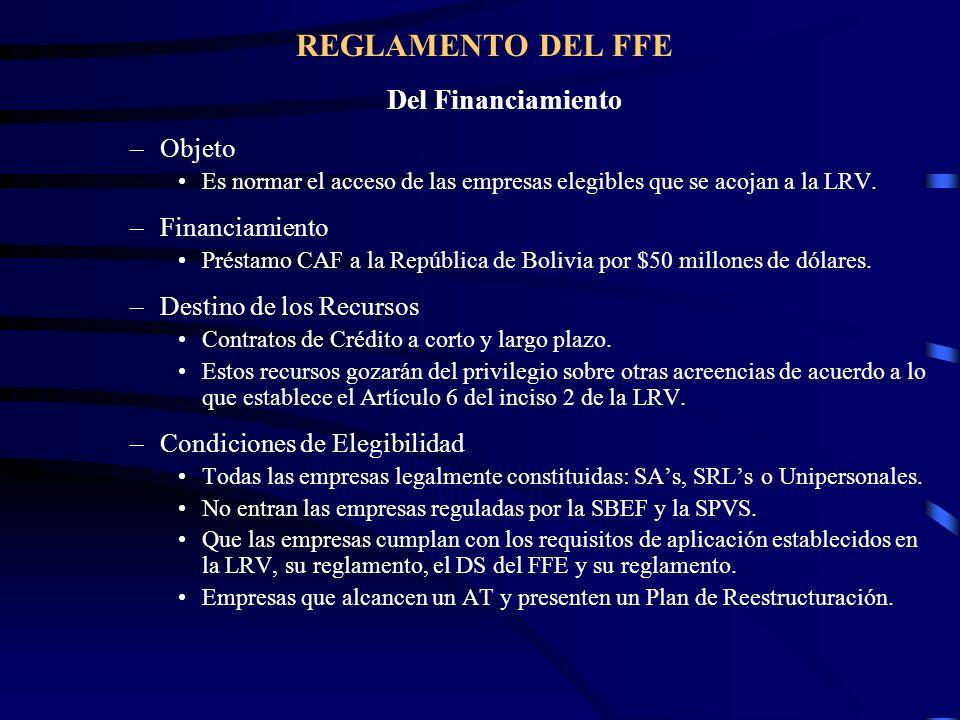 REGLAMENTO DEL FFE Del Financiamiento Objeto Financiamiento