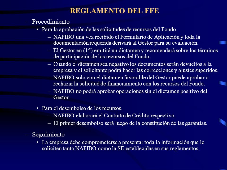 REGLAMENTO DEL FFE Procedimiento Seguimiento