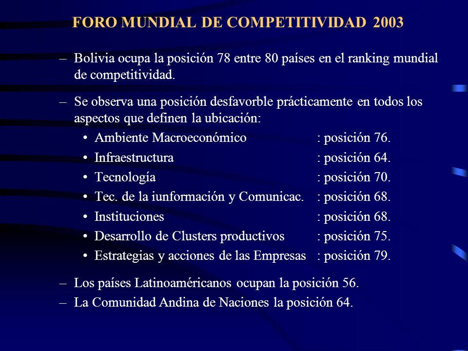 FORO MUNDIAL DE COMPETITIVIDAD 2003