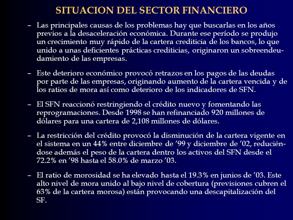 SITUACION DEL SECTOR FINANCIERO