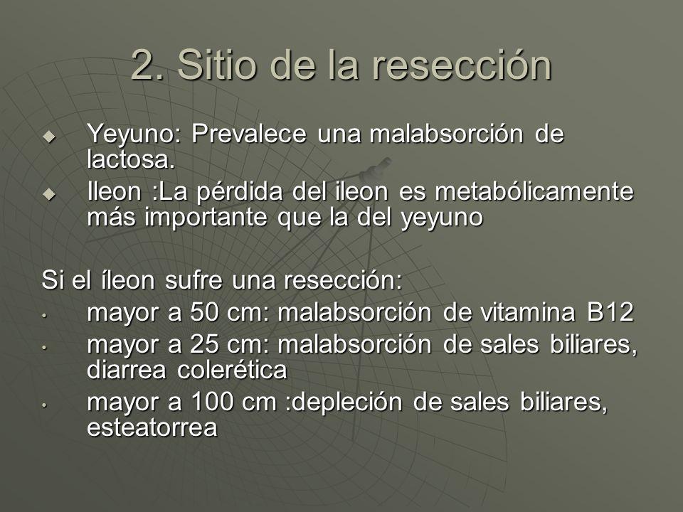 2. Sitio de la resección Yeyuno: Prevalece una malabsorción de lactosa.