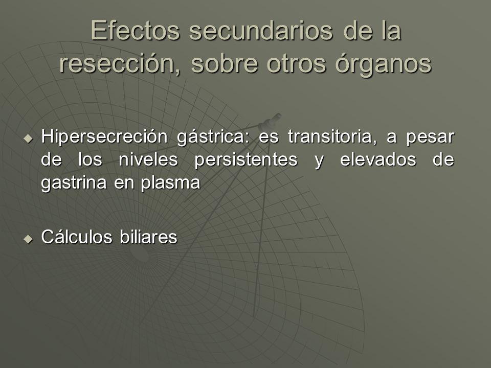 Efectos secundarios de la resección, sobre otros órganos