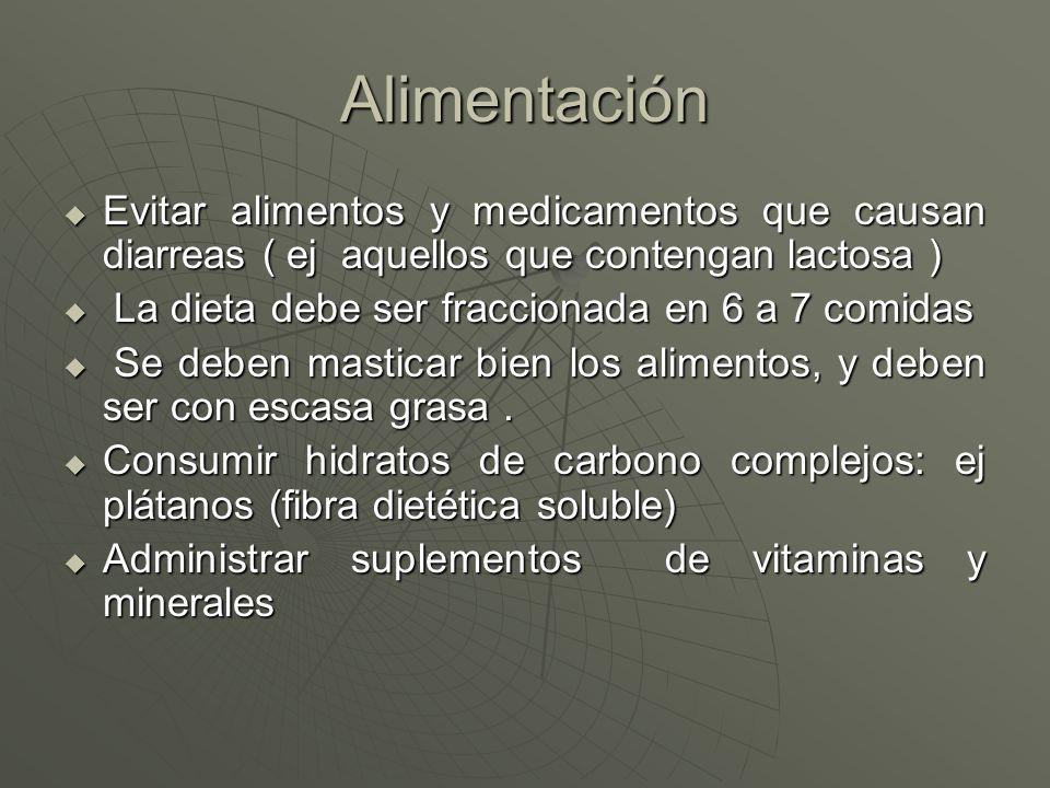 Alimentación Evitar alimentos y medicamentos que causan diarreas ( ej aquellos que contengan lactosa )