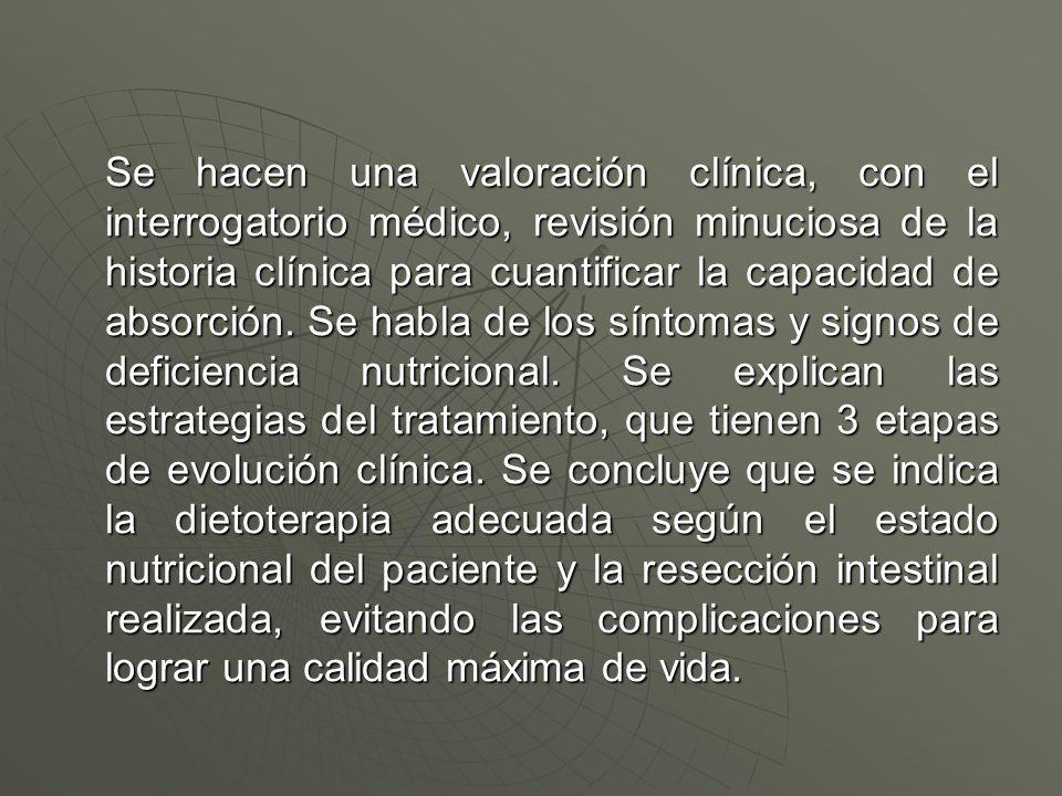 Se hacen una valoración clínica, con el interrogatorio médico, revisión minuciosa de la historia clínica para cuantificar la capacidad de absorción.