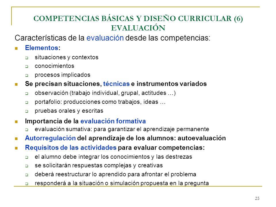 COMPETENCIAS BÁSICAS Y DISEÑO CURRICULAR (6) EVALUACIÓN