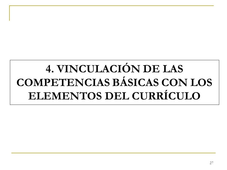 4. VINCULACIÓN DE LAS COMPETENCIAS BÁSICAS CON LOS ELEMENTOS DEL CURRÍCULO