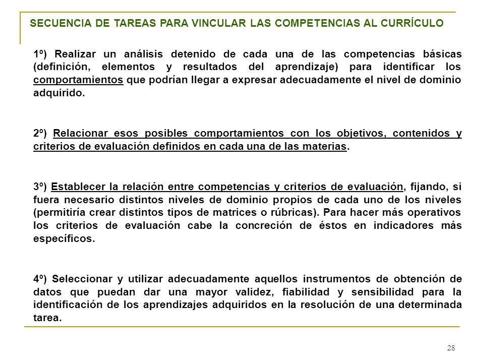 SECUENCIA DE TAREAS PARA VINCULAR LAS COMPETENCIAS AL CURRÍCULO