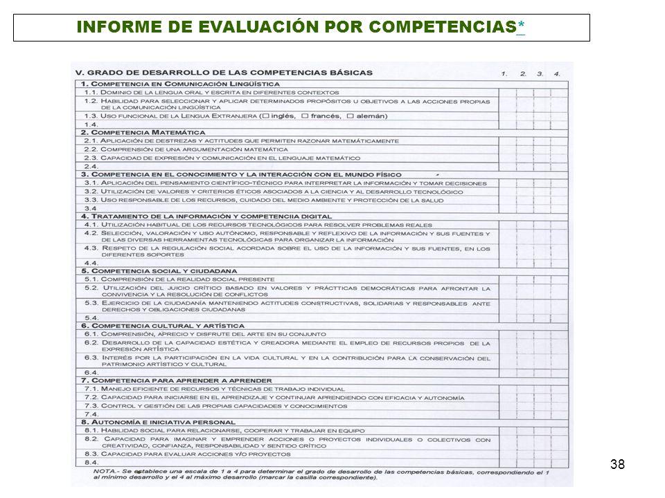 INFORME DE EVALUACIÓN POR COMPETENCIAS*