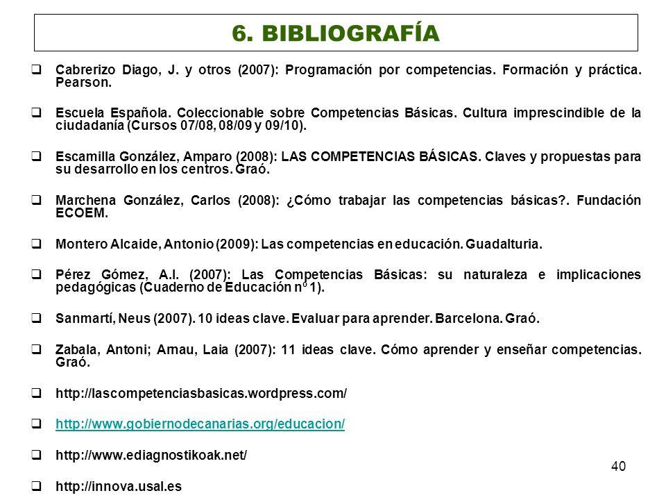 6. BIBLIOGRAFÍA Cabrerizo Diago, J. y otros (2007): Programación por competencias. Formación y práctica. Pearson.