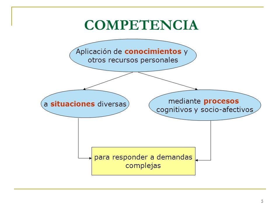 COMPETENCIA Aplicación de conocimientos y otros recursos personales