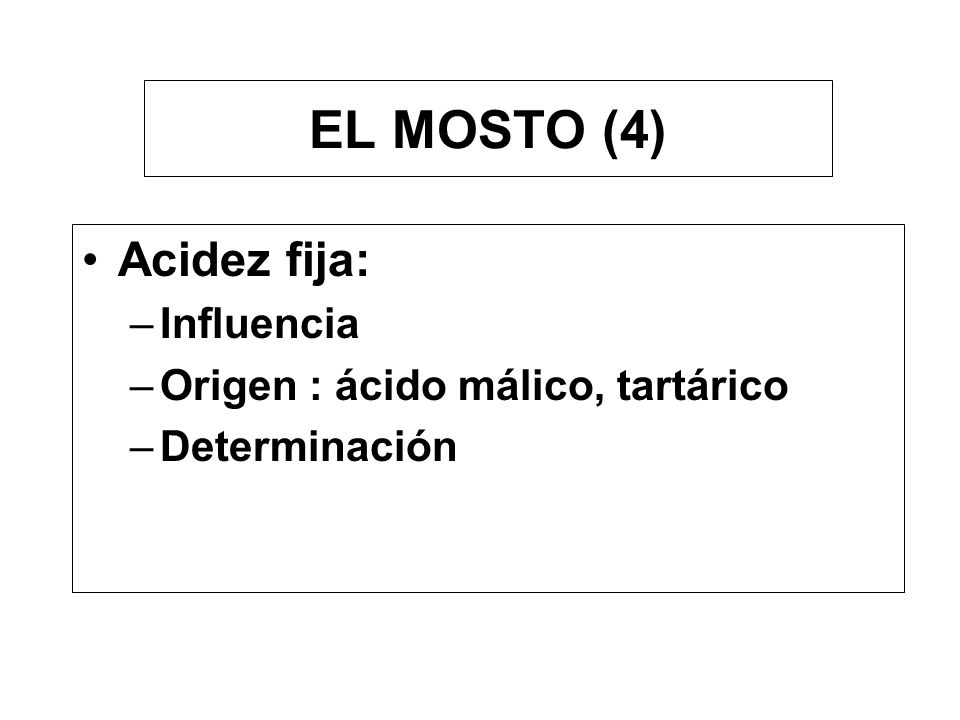 EL MOSTO (4) Acidez fija: Influencia Origen : ácido málico, tartárico
