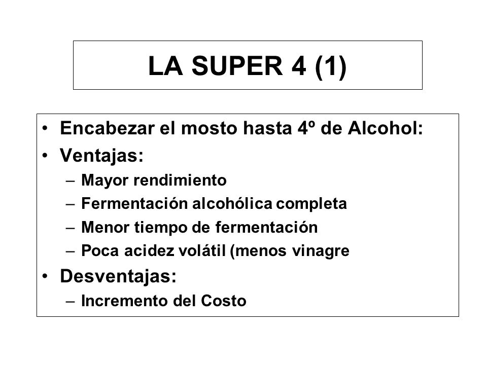LA SUPER 4 (1) Encabezar el mosto hasta 4º de Alcohol: Ventajas: