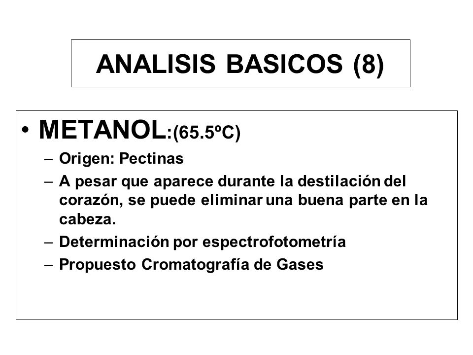 ANALISIS BASICOS (8) METANOL:(65.5ºC) Origen: Pectinas