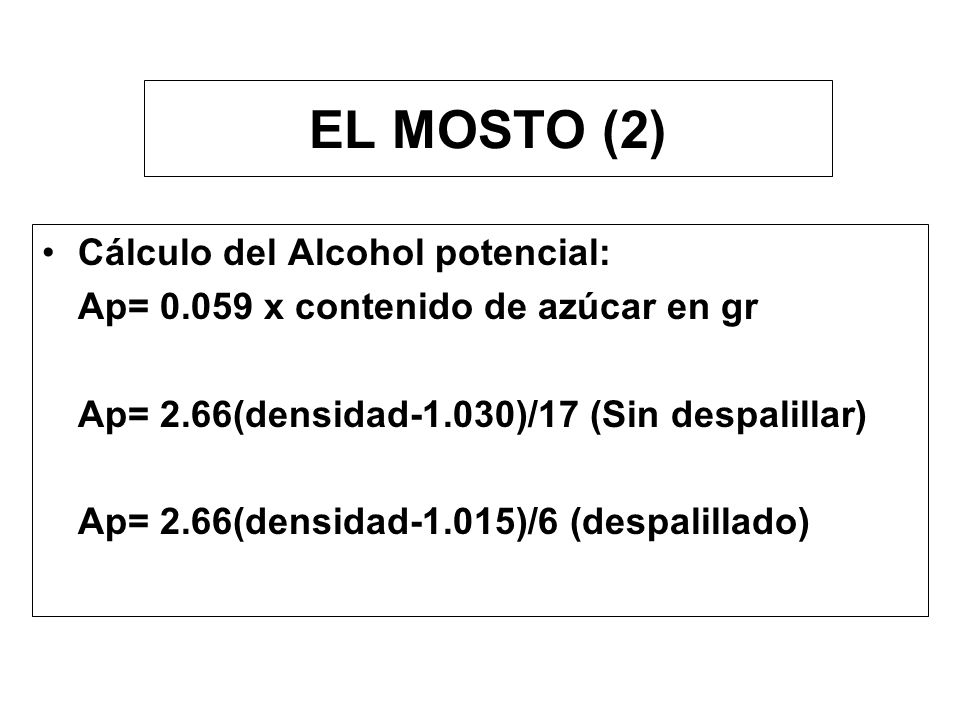 EL MOSTO (2) Cálculo del Alcohol potencial: