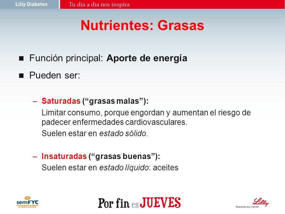 Nutrientes: Grasas Función principal: Aporte de energía Pueden ser: