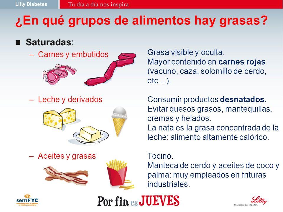 ¿En qué grupos de alimentos hay grasas