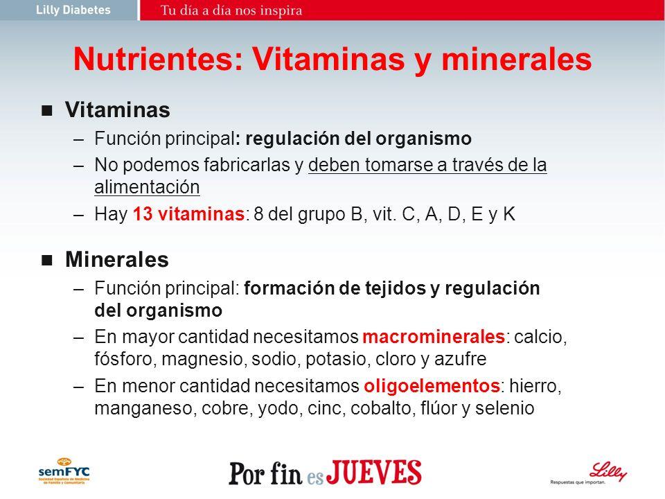 Nutrientes: Vitaminas y minerales