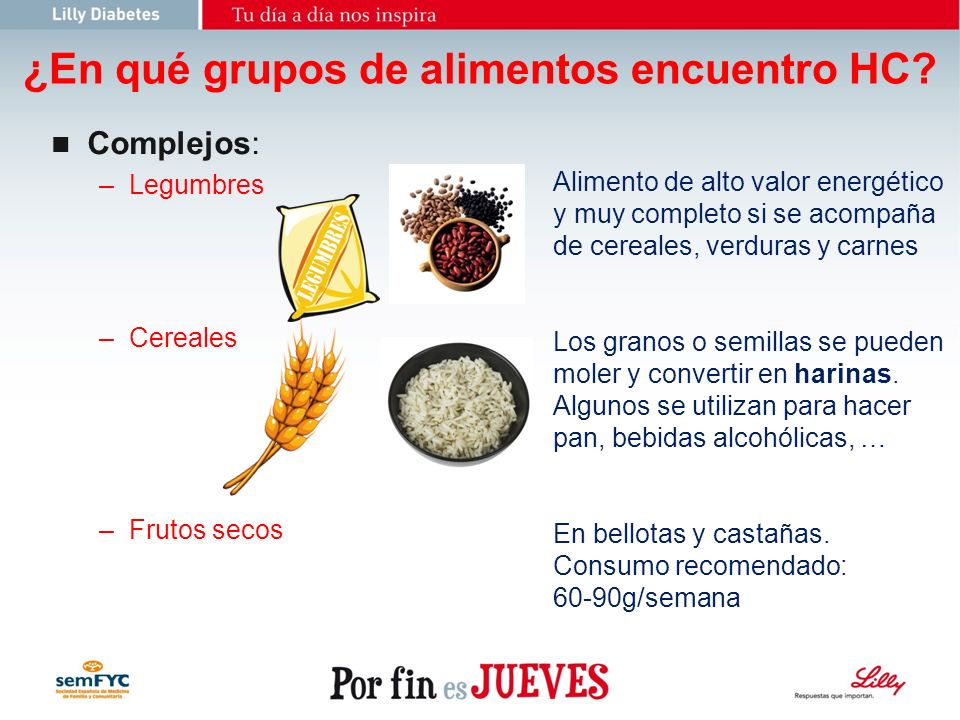 ¿En qué grupos de alimentos encuentro HC
