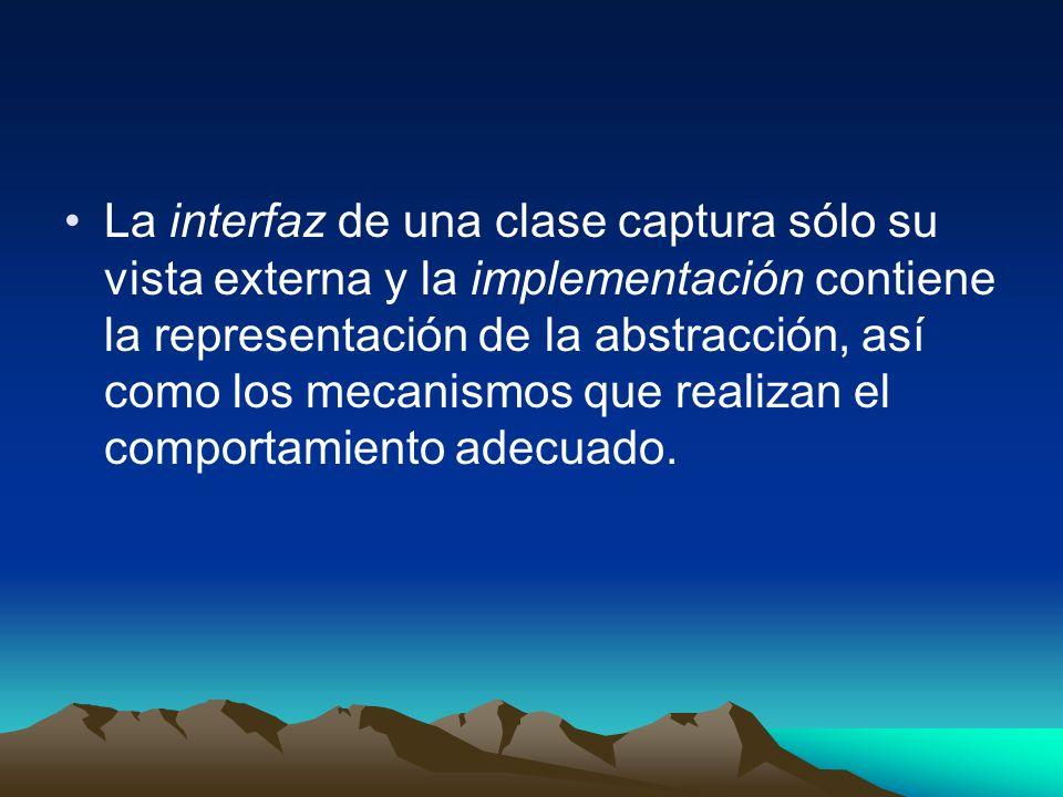 La interfaz de una clase captura sólo su vista externa y la implementación contiene la representación de la abstracción, así como los mecanismos que realizan el comportamiento adecuado.