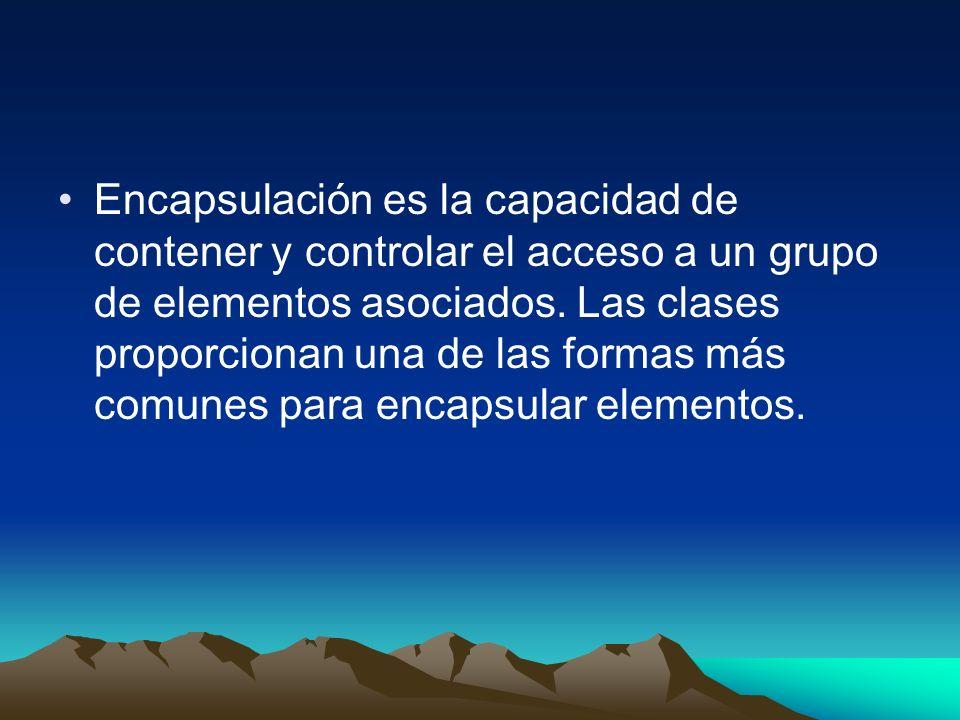 Encapsulación es la capacidad de contener y controlar el acceso a un grupo de elementos asociados.
