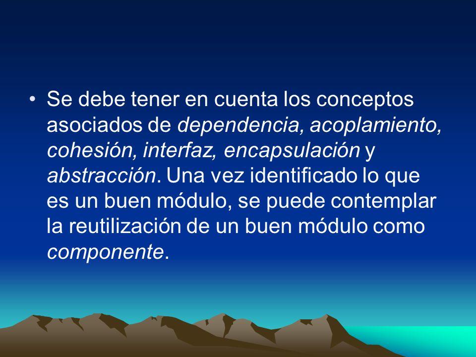 Se debe tener en cuenta los conceptos asociados de dependencia, acoplamiento, cohesión, interfaz, encapsulación y abstracción.