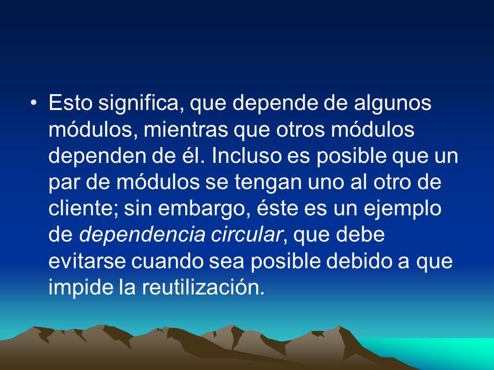 Esto significa, que depende de algunos módulos, mientras que otros módulos dependen de él.