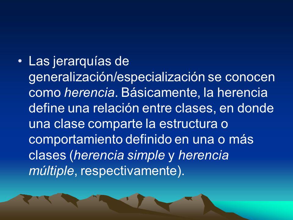 Las jerarquías de generalización/especialización se conocen como herencia.