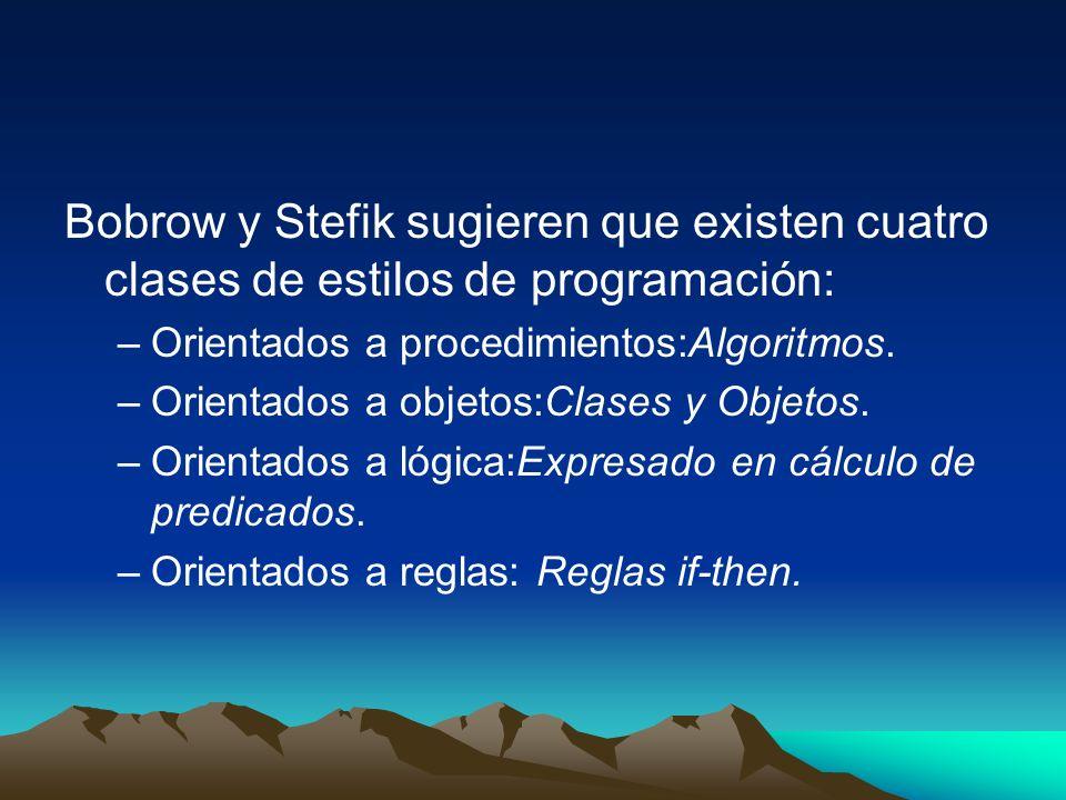 Bobrow y Stefik sugieren que existen cuatro clases de estilos de programación: