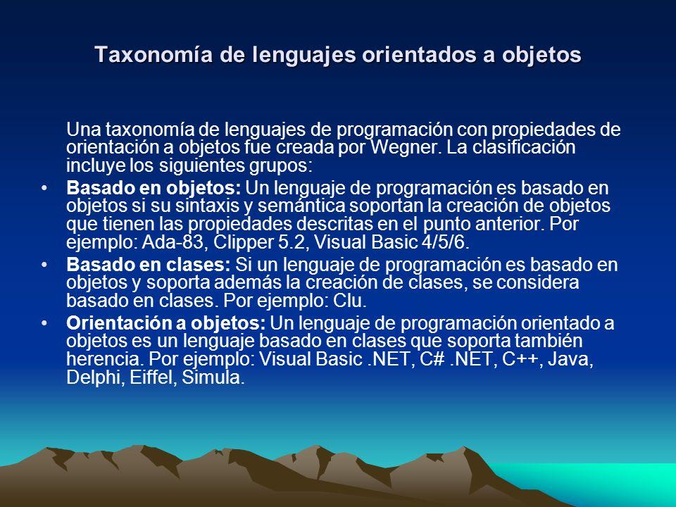 Taxonomía de lenguajes orientados a objetos