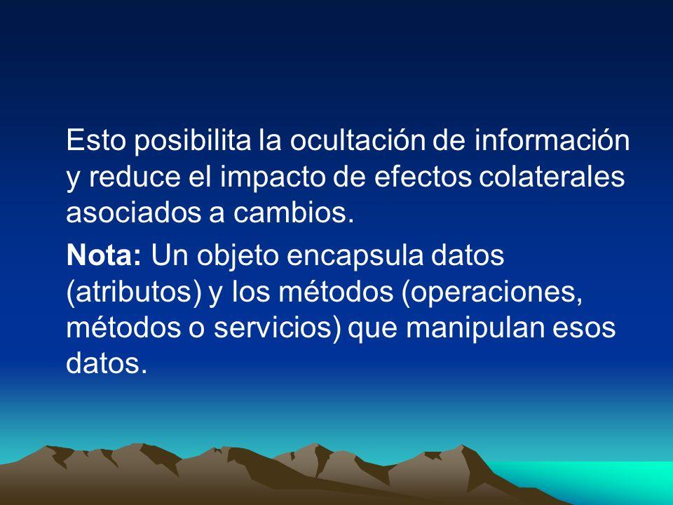 Esto posibilita la ocultación de información y reduce el impacto de efectos colaterales asociados a cambios.