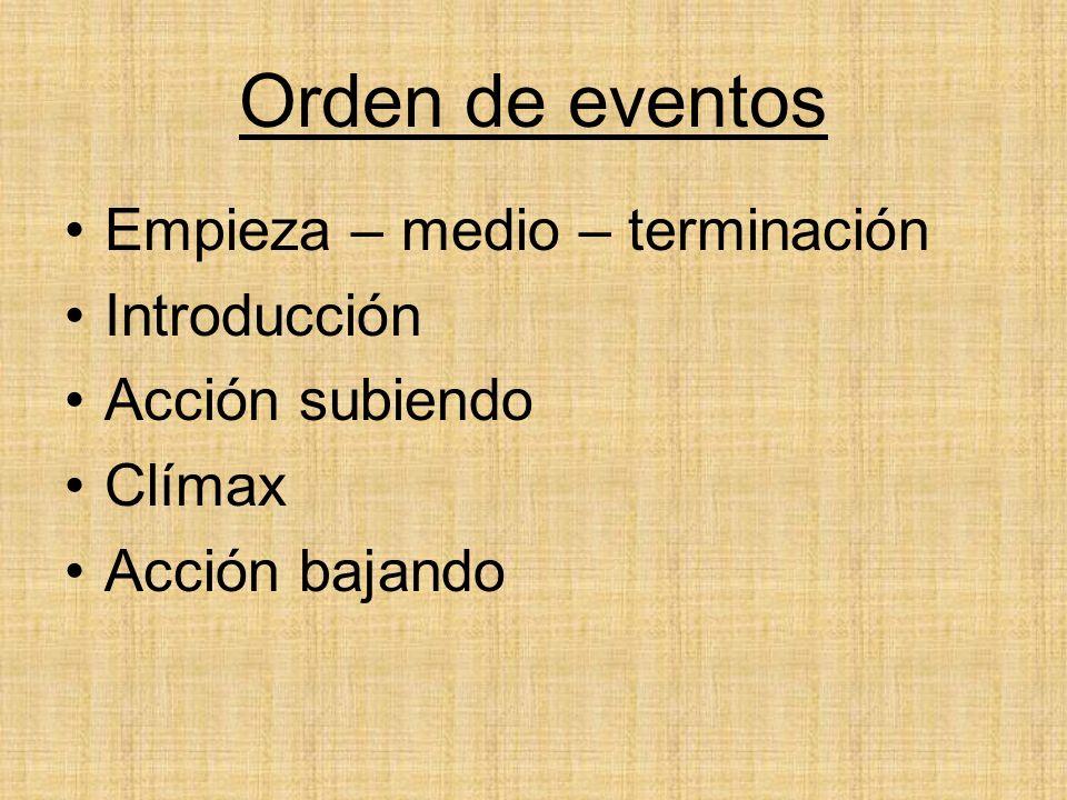 Orden de eventos Empieza – medio – terminación Introducción