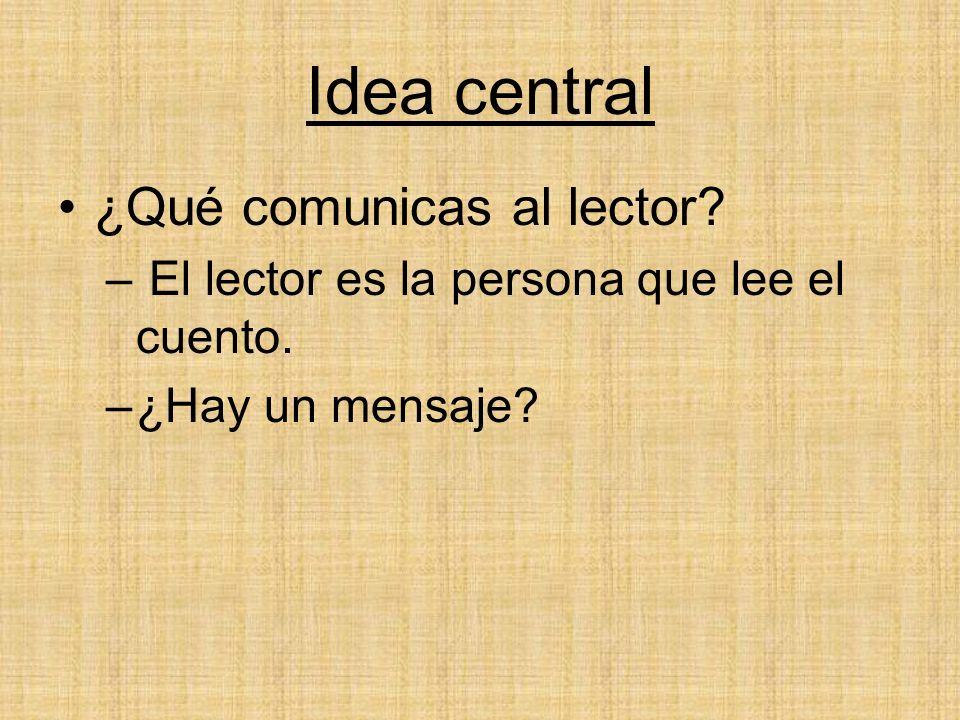 Idea central ¿Qué comunicas al lector