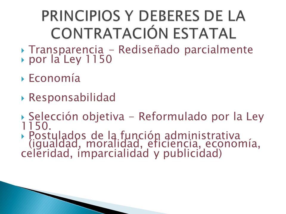 PRINCIPIOS Y DEBERES DE LA CONTRATACIÓN ESTATAL