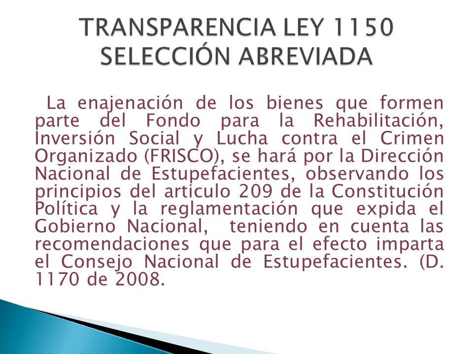 TRANSPARENCIA LEY 1150 SELECCIÓN ABREVIADA