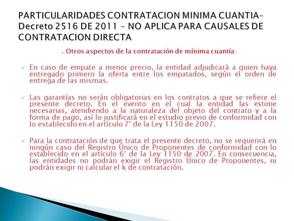 . Otros aspectos de la contratación de mínima cuantía: