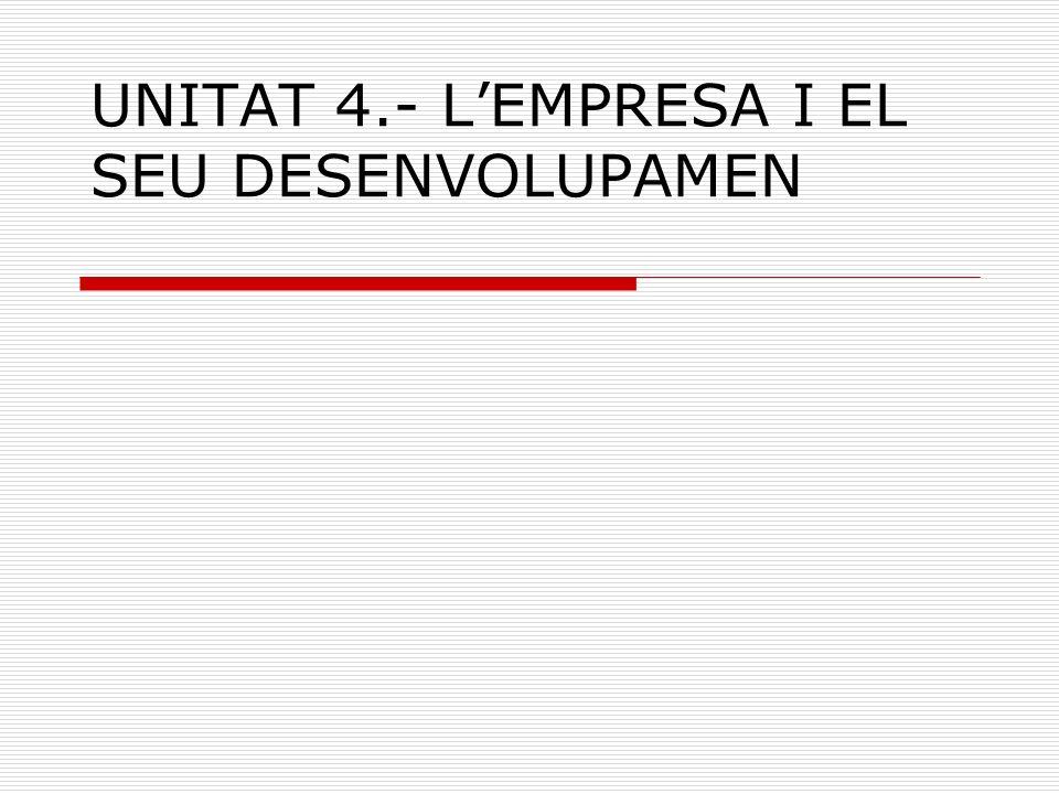 UNITAT 4.- L'EMPRESA I EL SEU DESENVOLUPAMEN