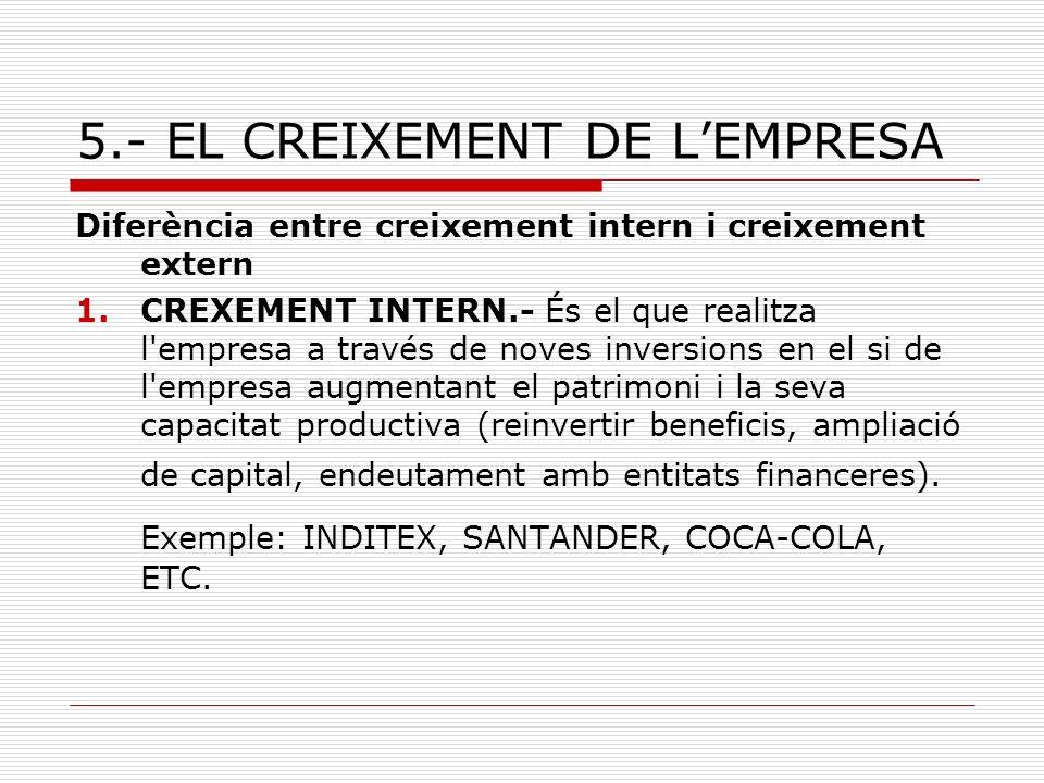 5.- EL CREIXEMENT DE L'EMPRESA