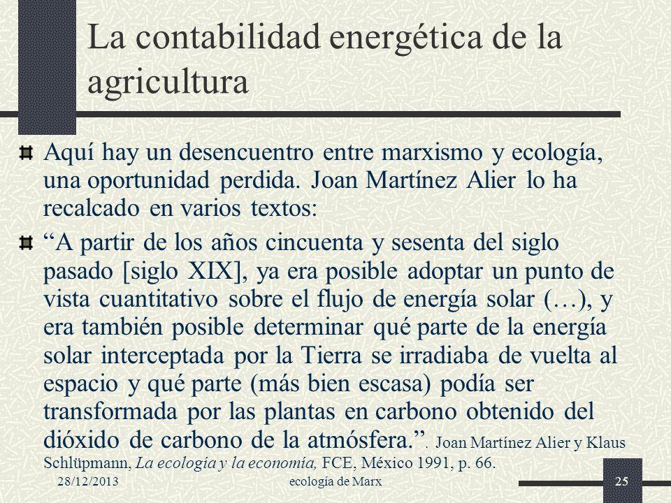 La contabilidad energética de la agricultura