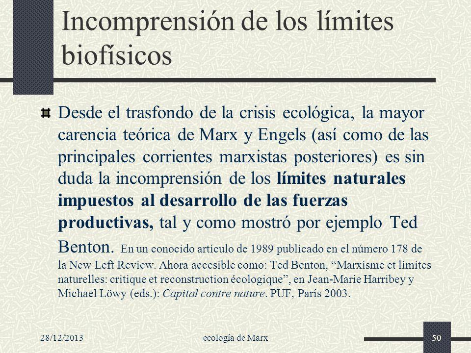 Incomprensión de los límites biofísicos