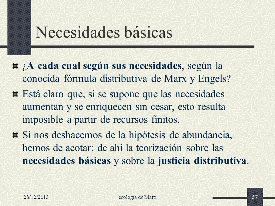 Necesidades básicas ¿A cada cual según sus necesidades, según la conocida fórmula distributiva de Marx y Engels