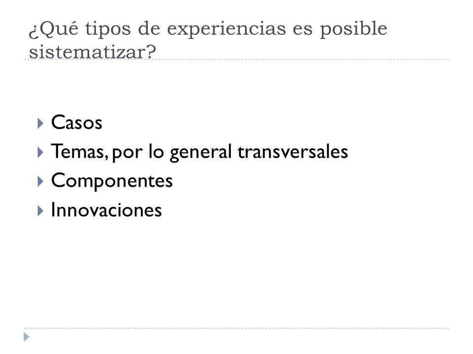 ¿Qué tipos de experiencias es posible sistematizar