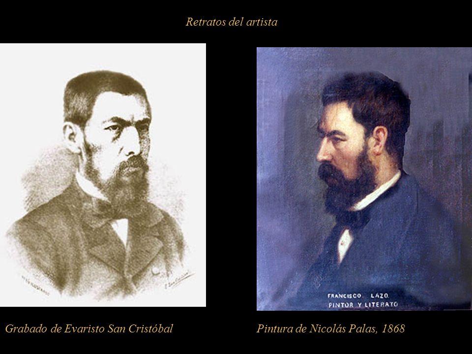 Retratos del artista Grabado de Evaristo San Cristóbal Pintura de Nicolás Palas, 1868