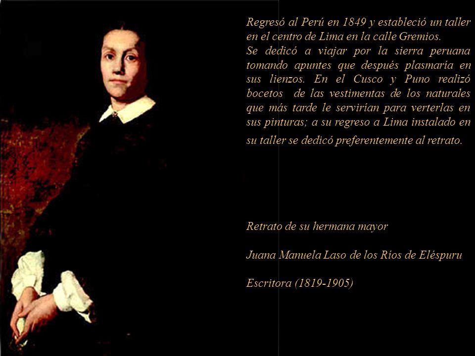 Regresó al Perú en 1849 y estableció un taller en el centro de Lima en la calle Gremios.