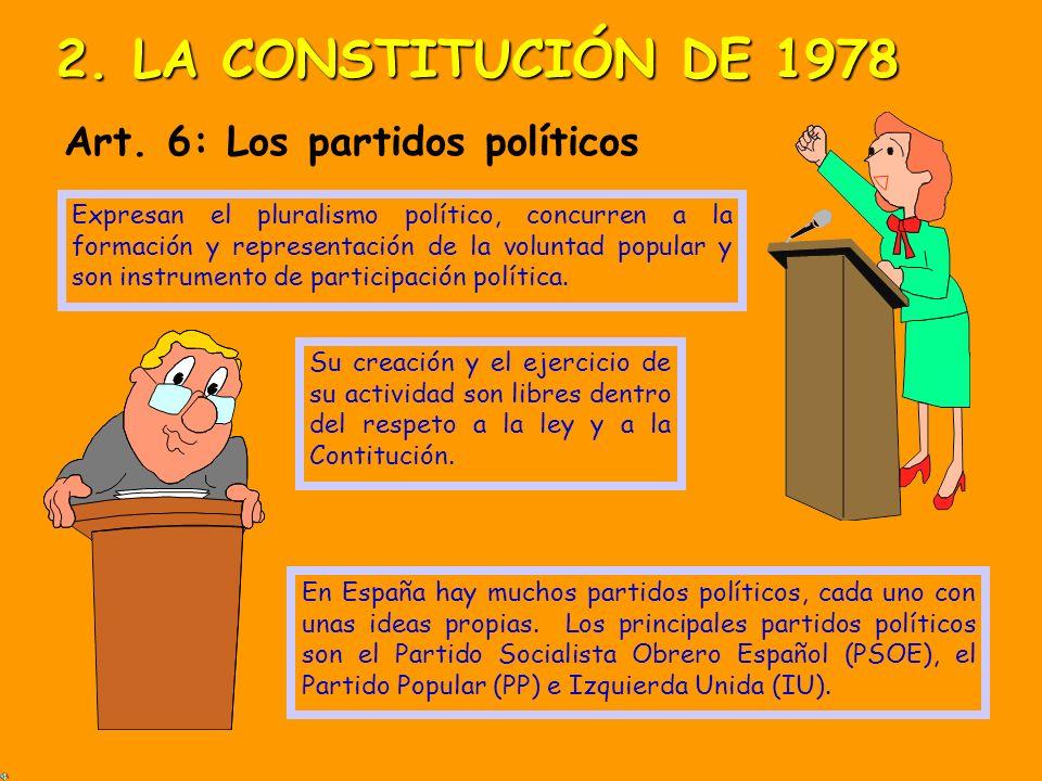 2. LA CONSTITUCIÓN DE 1978 Art. 6: Los partidos políticos