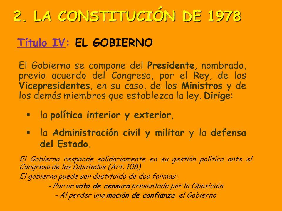 2. LA CONSTITUCIÓN DE 1978 Título IV: EL GOBIERNO