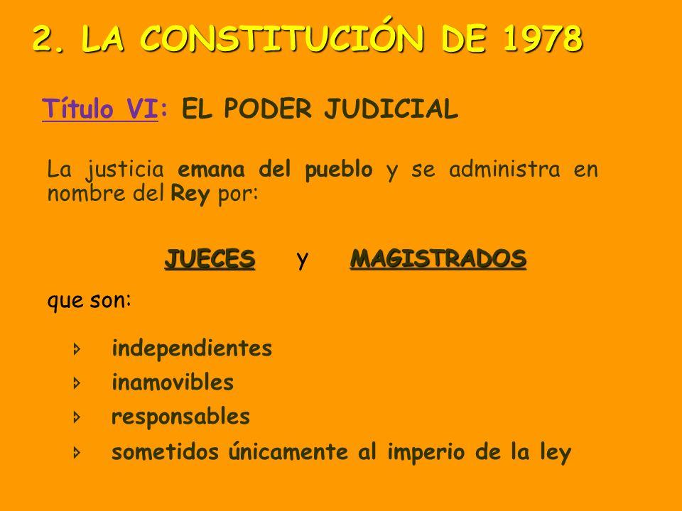 2. LA CONSTITUCIÓN DE 1978 Título VI: EL PODER JUDICIAL